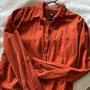 MENS Rust Corduroy Button Down Shirt